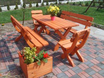Zahradní nábytek z masivu 5 cm včetně povrchové úpravy-Nový